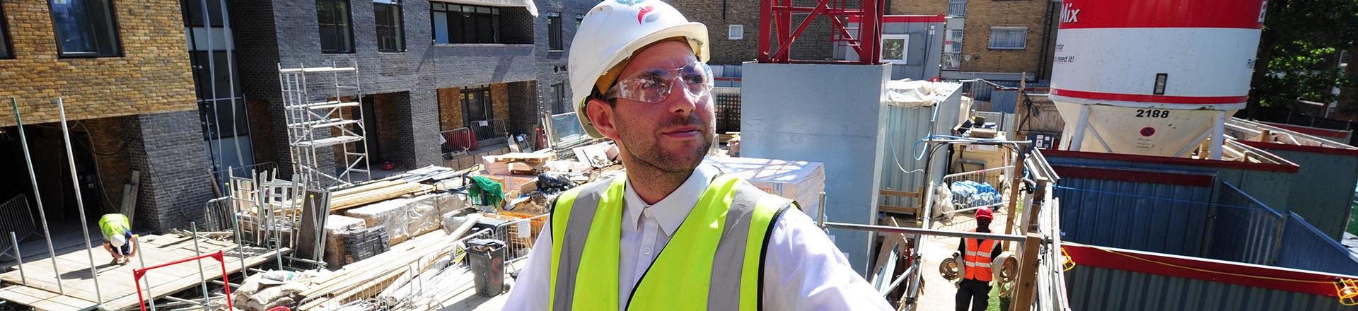 A surveyor at Guinness Court.