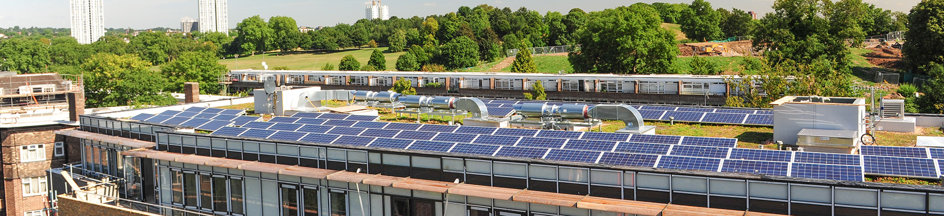 Solar panels on the roof of Guinness Court
