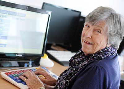 older lady on computer